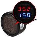 Universal 2 em 1 Dual LED Digital Termômetro Do Carro Plugue do Isqueiro do Cigarro Auto Acessórios Voltage Meter Monitor de Voltímetro