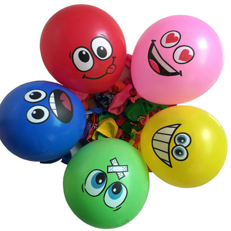 10pcs/lot 12inches Printed Big Eyes Smiley Face Latex Balloons Happy Birthday Party Decoration Inflatable Air Ballons Kids Gifts