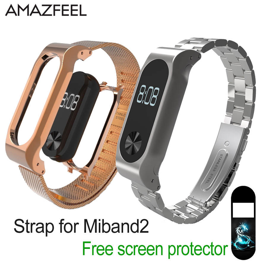 For Xiaomi Mi Band 2 Strap Metal Wrist Strap MiBand2 Screwless Stainless Steel Bracelet Smart Band Replace Belt For Mi Band 2