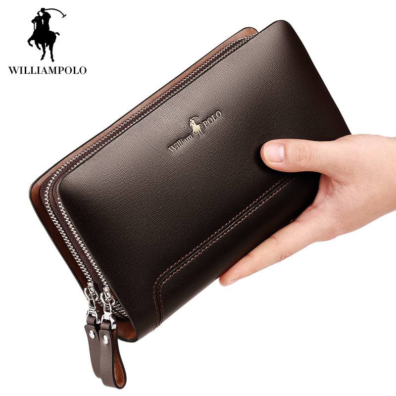 WILLIAMPOLO 2017 100 Real Leather Clutch Bag font b Men b font Europe and American Style