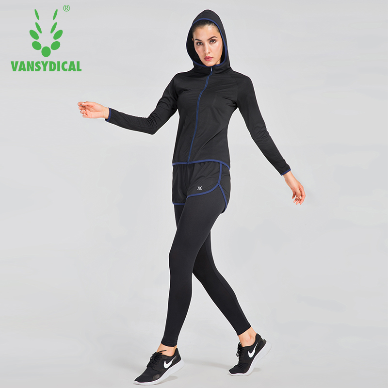 Vansydical New Sports Running Sets Women Jogging Suit Gym Fitness Yoga Clothes 6pcs/set 2017 new brand sports yoga set autumn long sleeved hoodie running fitness sports suits yoga clothing three piece women sweater
