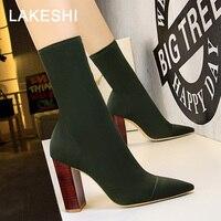 Quanzixuan женские зимние ботинки пикантные острый носок эластичные ботильоны под дерево обувь на высоких квадратных каблуках сапоги женские н...