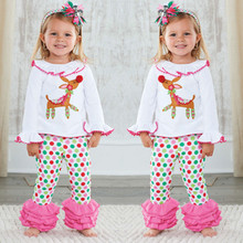 Girls Cartoon Pajama Sets Children Christmas Sleepwear Clothing Cotton Deer Tops Ruffles Pants Trousers 2PCS Outfit