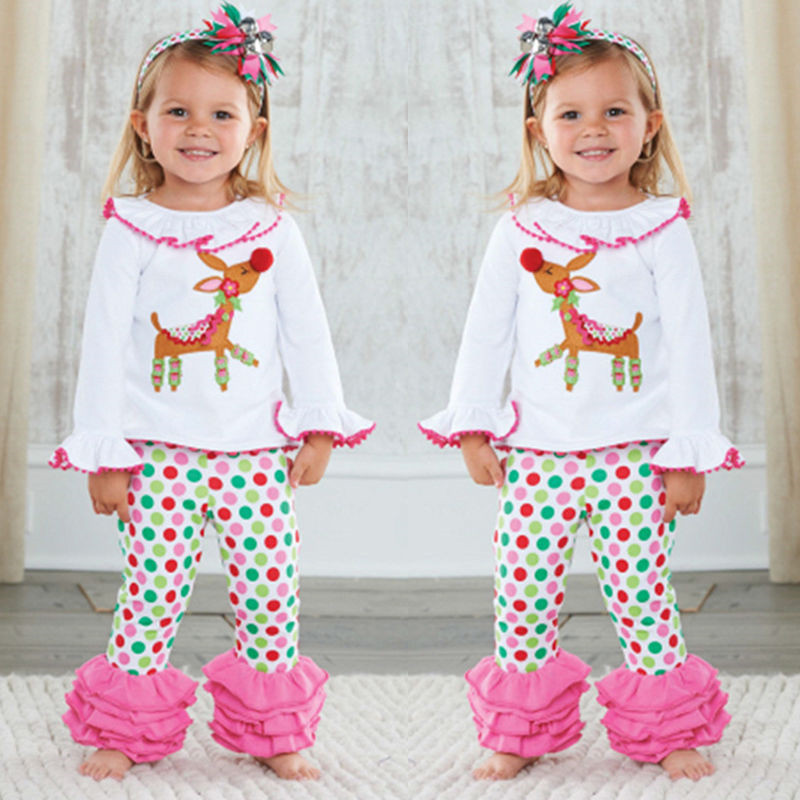 Girls Cartoon   Pajama     Sets   Children Christmas Sleepwear Clothing Cotton Deer Tops Ruffles Pants Trousers 2PCS Sleepwear Outfit