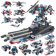 2019 New 8in1 Military Warship/Robot Fighter Car Helicopter Aircraft Building Blocks Compatible with Legoed Children Toys