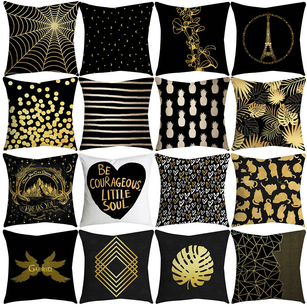 Gold Cushion Pillowcase Floor-Decoration Letters Rose Chat Coussin Black Home Square