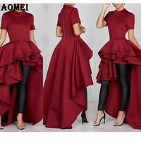Women High Low Dress Layers Ruffled Night Party Wear Irregular Length Evening Normal Dresses Gowns Summer Clothing Plus Size 3XL