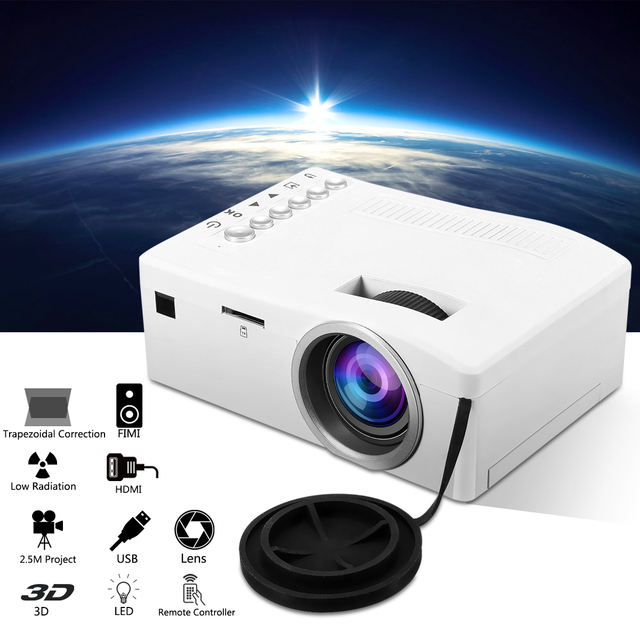 Cheap LED Mini Portable 400 Lumen Projector Full HD 1080P 320 x 180 Resolution Home Theater Cinema  PC VGA USB SD AV Input HDMI