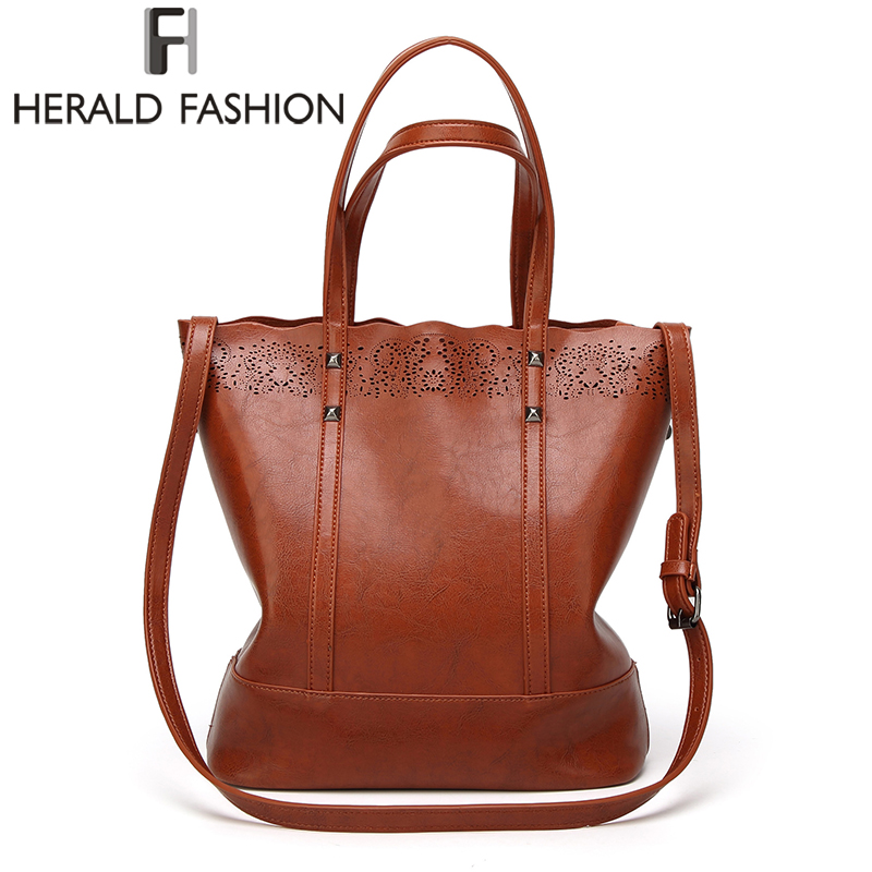 Herald Fashion Large Capacity Leather Handbags Female High Quality Casual Tote Bags Women's Shoulder Bag Hollow Out Women Bag цены