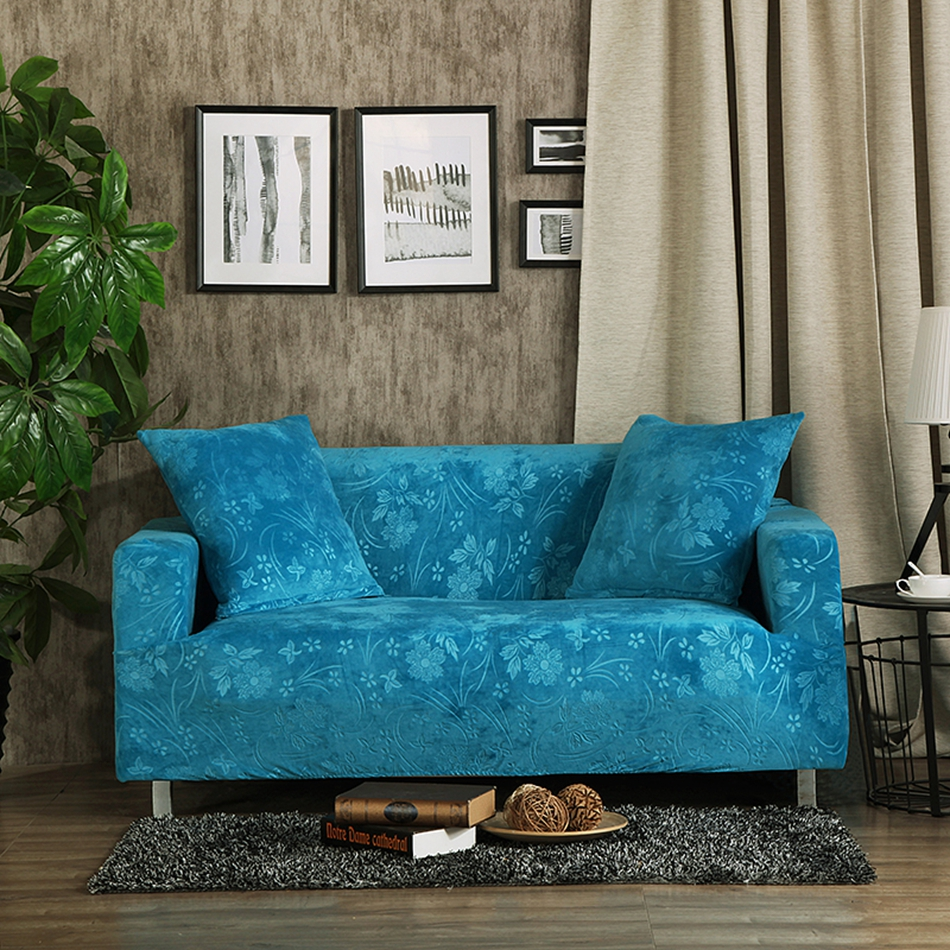 Blue Embossing Couch Sofa Covers 100 Polyester Stretch Furniture Home Decoration Slipcovers For Living Room