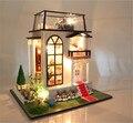 Сборка поделки из дерева кукольный домик / принц роуз кукольный дом миниатюры с мебелью из светодиодов свет детские игрушки подарок любовника
