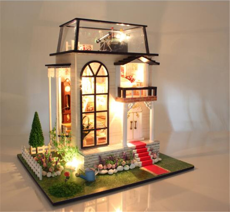 Assembling DIY wooden dollhouse / Prince Rose doll house  miniatures with furniture LED light kids toys lover gift 1 12 dollhouse miniatures furniture re ment refrigerator hearth integral kitchen lampblack machine