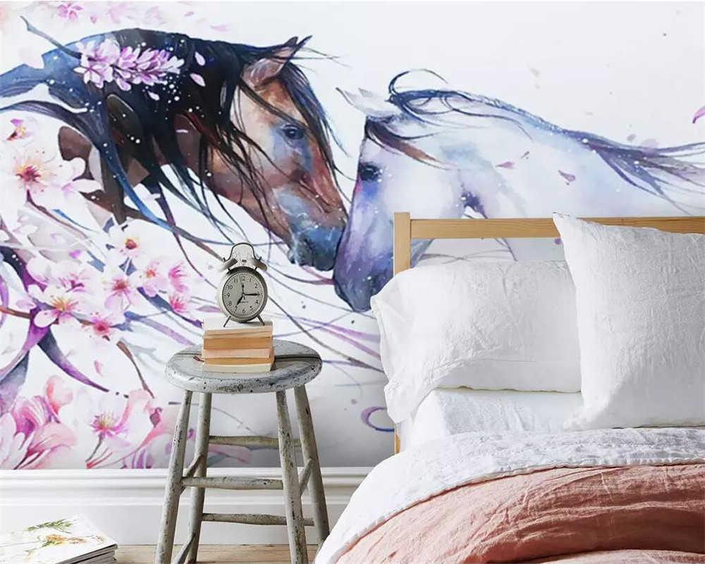 Beibehang 3D zdjęcie niestandardowe tapety mural osobowość moda prosty ręcznie malowany koń brzoskwiniowy literacki mural ściany salonu