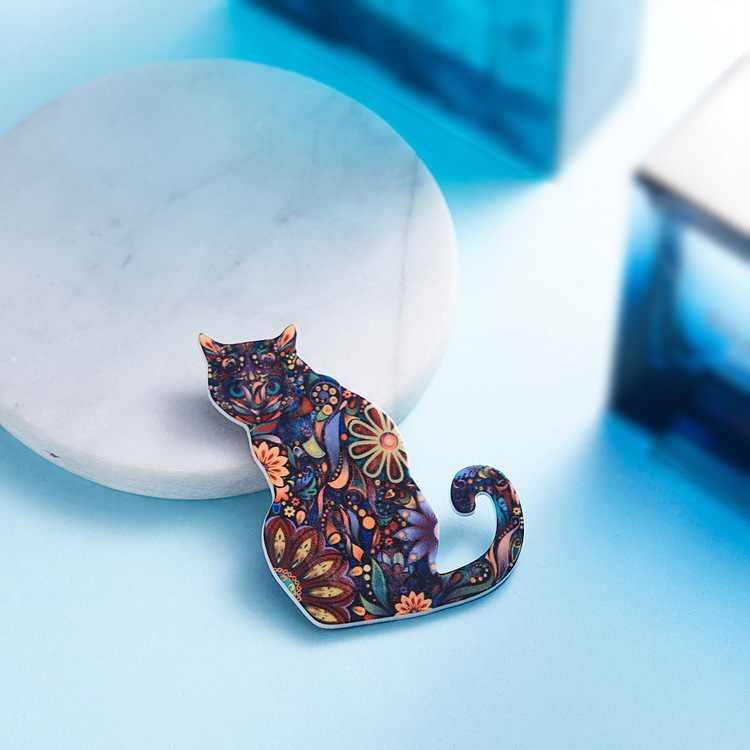 Kepribadian Kucing Lucu Hewan Bros Natal Hadiah untuk Wanita Kerah BTS Pin Akrilik Jilbab Pin dan Bros Anak-anak Perhiasan 2018 baru