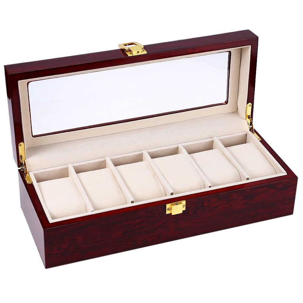 2017 Hot haute qualité 6 fentes de luxe en bois écrin de montre montres boîte élégant bijoux stockage organisé caixa para relogio
