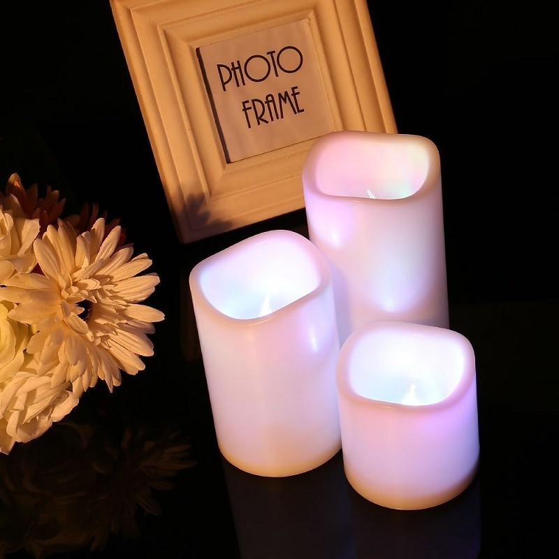3Pcs/set Multi Color Battery Powered Flameless Candle Lights with Remote Control &Timer for Wedding Night Light for Home Deco dfl 3x6 inch flameless real wax pillar electronic led candle with timer with embossed gold pearl