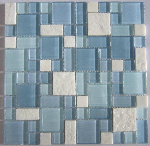 blue glass mosaic and white marble mosaic tile backsplash
