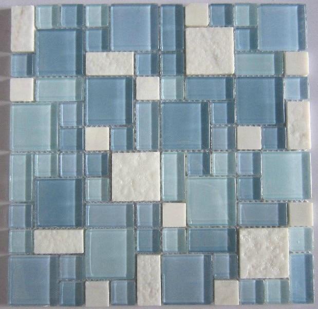 blue glass mosaic and white marble mosaic tile backsplash