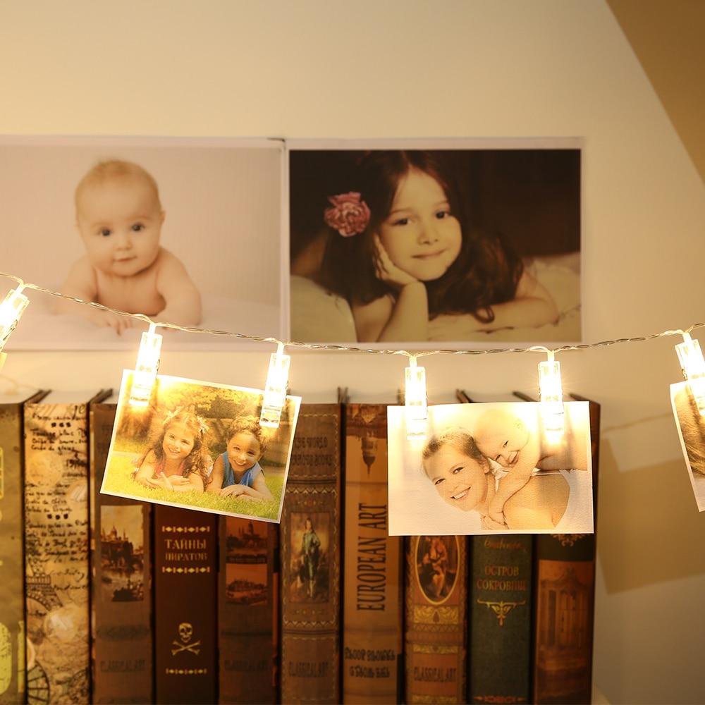 Hot Sale Gledto 20 Led USB Warm White Led Fairy String Light Photo Peg Clip Xmas DIY Clothespin Shapes LED String Lighting