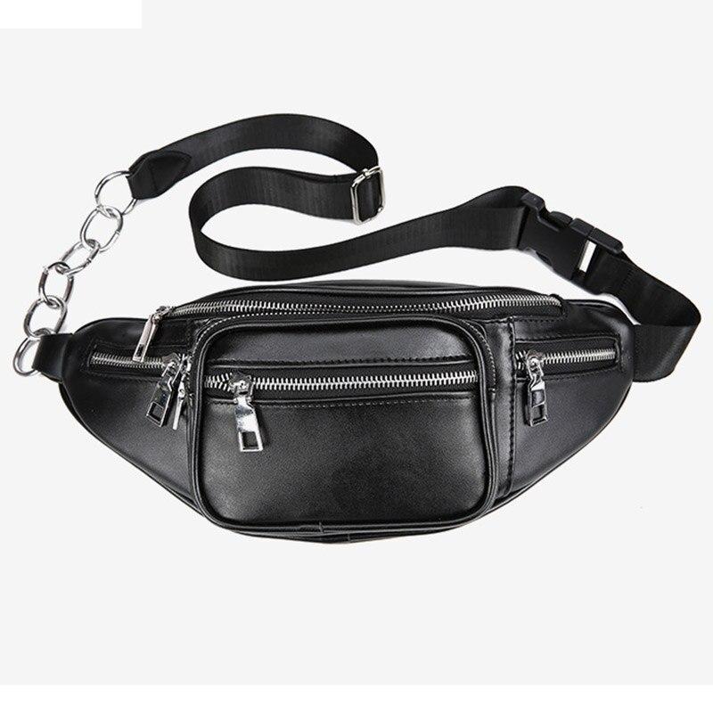 2018 Mode Frauen Gürteltasche Casual Pu Leder Kette Schulter Taschen Reißverschluss Brust Taille Taschen Reise Brust Tasche Fanny Taille Pack