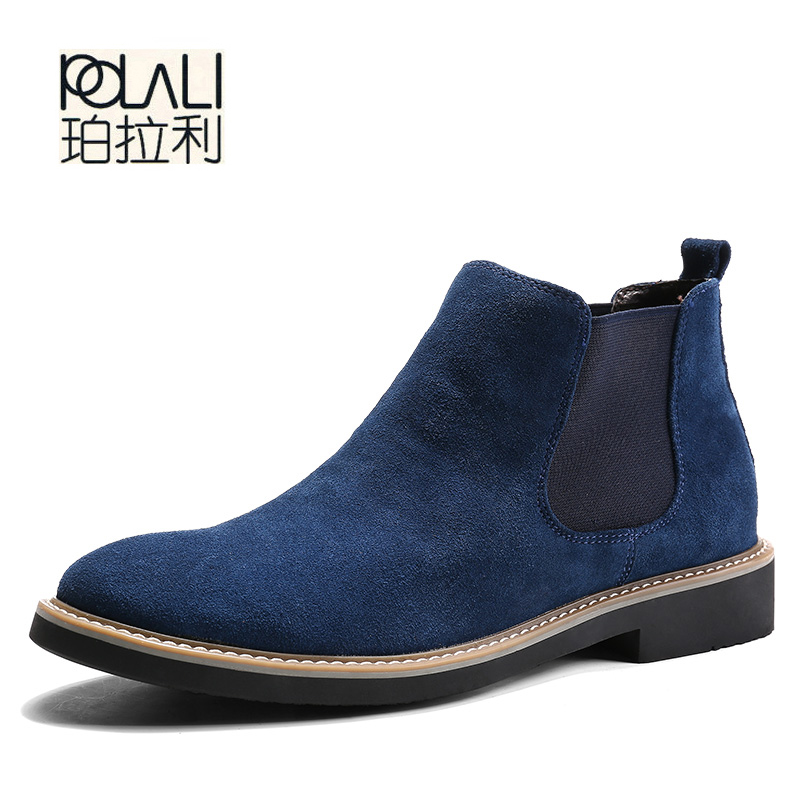 POLALI  2018 Autumn Fashion Casual For Men Ankle Chelsea Boots Male Shoes Cow Suede Leather Quality Slip Ons Motorcycle Man Boot