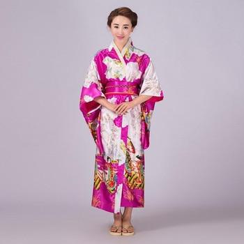 b3d5ad07f686468 Ярко-розовый японский Стиль Для женщин вечернее платье Шелковый район  кимоно платье Национальный юката с Оби Косплэй костюм один размер NK008
