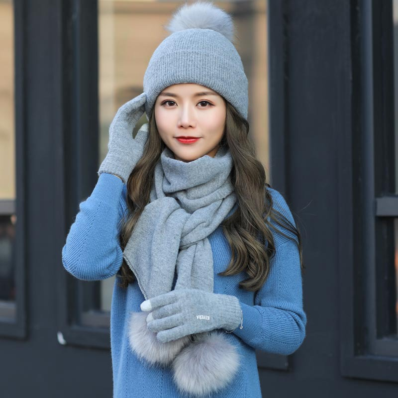 Gloves Accessory Scarf Earmuffs-Set Knit Double-Wool Winter Women Beanie Fashion Ladies