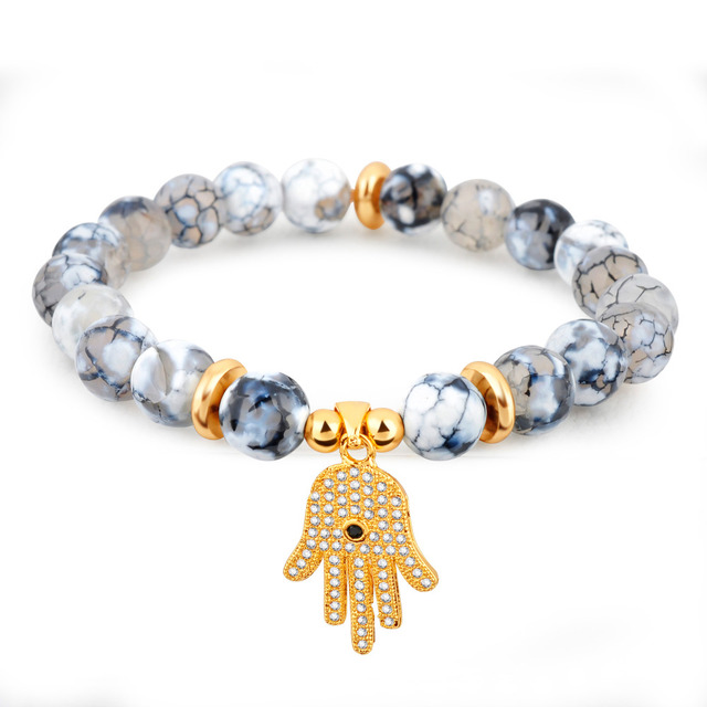 Fashion Antique Howlite Natural Stone Bracelet For Women Men Plated Gold Crystal Palm Charm Bracelets Jewelry Festival Gifts