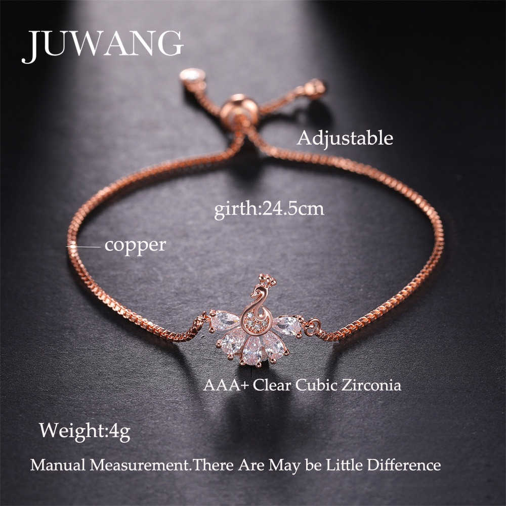 JUWANG סיטונאי טווס מעוקב Zirconia צמידים לנשים ילדה זהב צבע מתכוונן צמידי תכשיטים מתנה