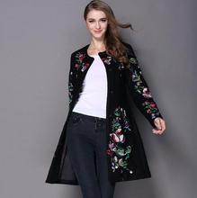 women winter embroidered neck long sleeved O button female coat