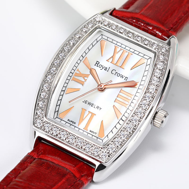 Royal Crown Luxury Men's Lady Women's Watch Japan Quartz Fashion Hours Colorful Bracelet Rhinestone Girl Boy Birthday Gift Box