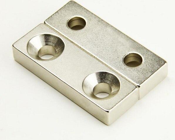 60*20*10 2 Pc Super Starke Neodym Magneten Block 60x20x10mm Magnet Versenkt 2 Löcher 5mm