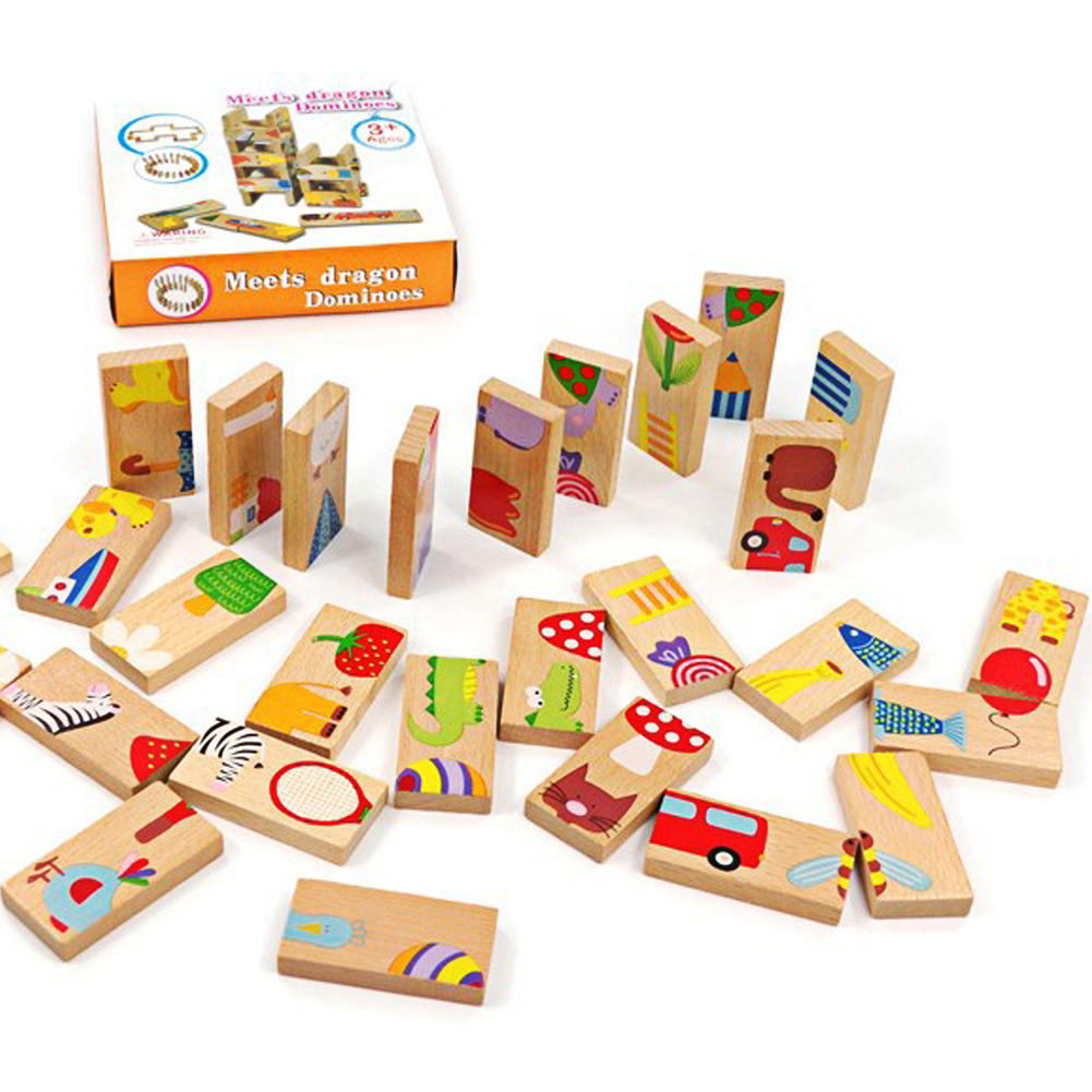 28pcs Set Animal Colored Dominoes Wooden Puzzle Cartoon Montessori Educational Baby font b Toys b font