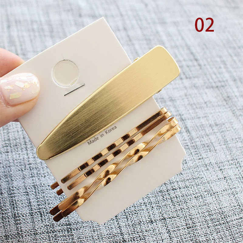 3pcs/set Korean Women Girls Metal Imitiation Pearl Minimalist Hair Clip Combination Barrette Pearls Hairpin Hair Accessories
