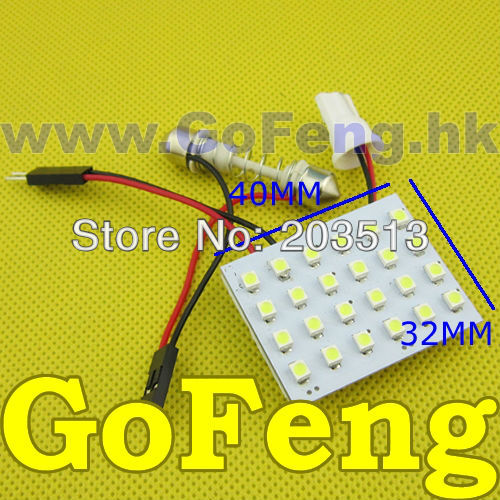 50pcs/lot Car Dome panel Light 24 LED SMD 3528 24smd Led Panel Auto Interior with Festoon T10 Socket