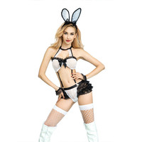 Christmas night club party bunny girl cosplay rabbit three points lingerie black white sexy girl bunny lace costumes
