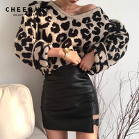 Cheerart Leopard Print Sweater Women Pullover Jumper Korean V Neck Loose Sweater Fashion 2018 Women Fuzzy Sweater Pull Femme