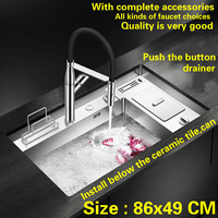 Free Shipping Hot Sell Standard Push The Button Drainer Luxury Kitchen Manual Sink Single Trough Big