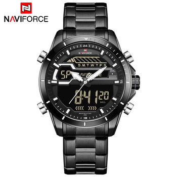 NAVIFORCE NF9133 Sport Watches Quartz Watch Digital Analog Military Stainless Steel-Black