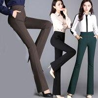 Autumn And Winter New Micro La Trousers High Waist Elastic Straight Trousers Emaciate Big Pants