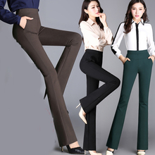 longqibao Autumn winter micro-La high waist elastic straight trousers emaciate big