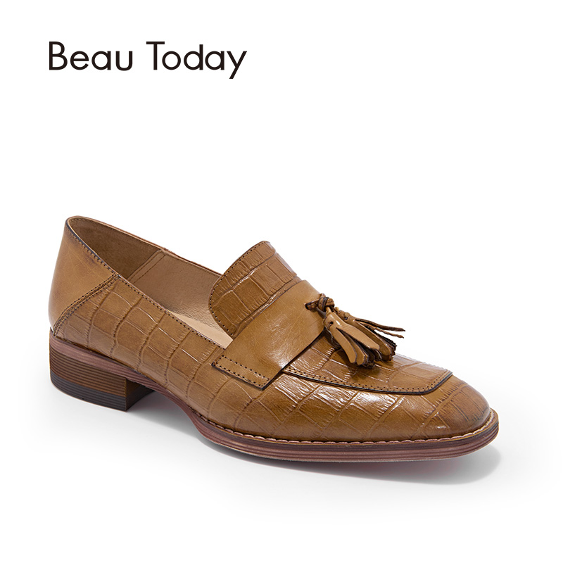 BeauToday Loafers for Women Alligator Genuine Cow Leather Fashion Fringe Slip On Shoes Dress Square Toe Ladies Flats 27053 beautoday genuine leather crystal loafer shoes women round toe slip on casual shoes sheepskin leather flats 27038