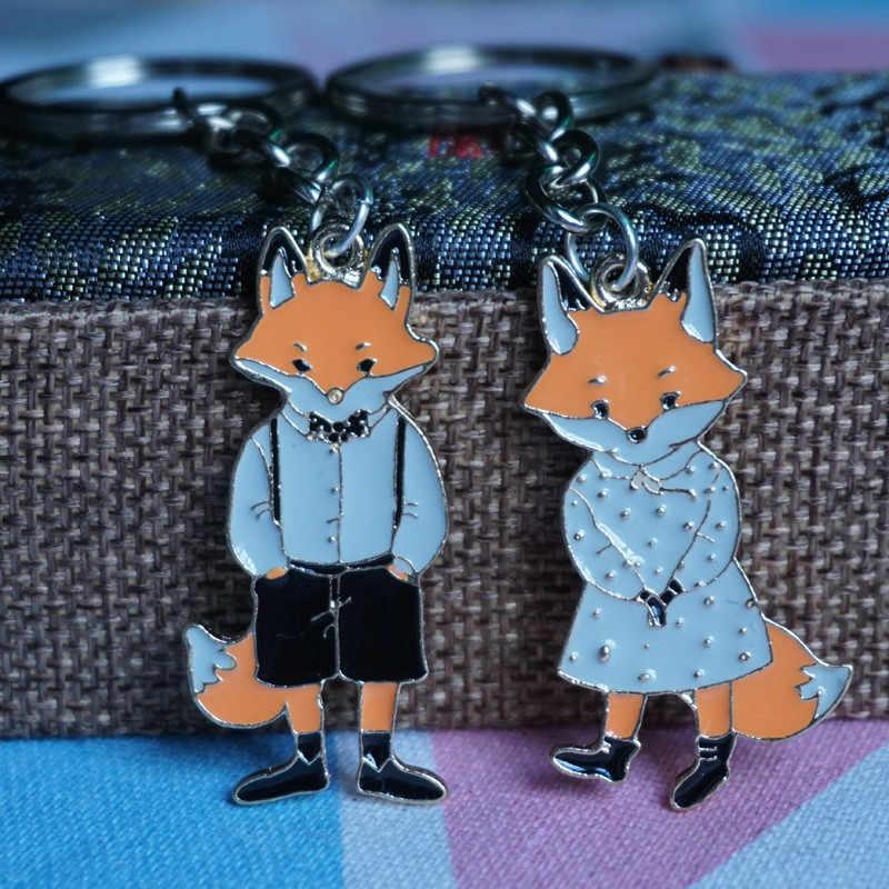 Fox Pasangan Gantungan Kunci Lucu Alloy Gantungan Kunci untuk Wanita Pria Gantungan Kunci Tas Pesona Pecinta Hadiah 2018