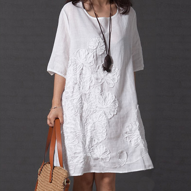 Chinese Ethnic Folk Women Dress Summer Round Neck Solid Color Beach Casual Half Sleeve Loose applique Dress 2019 New Fashion
