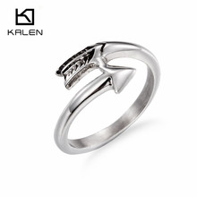 Kalen Trendy Arrow Shaped Rings Cheap Stainless Steel Silver Color Elegant Engagement Wedding Rings For Women Evening Party 2016