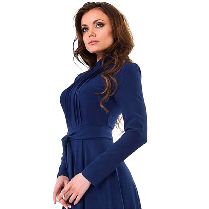 Brief Women Long Sleeve Cotton Blend Blue Dress Evening Party Full Length  Maxi Gown-in Dresses from Women s Clothing on Aliexpress.com  59d3c470600b