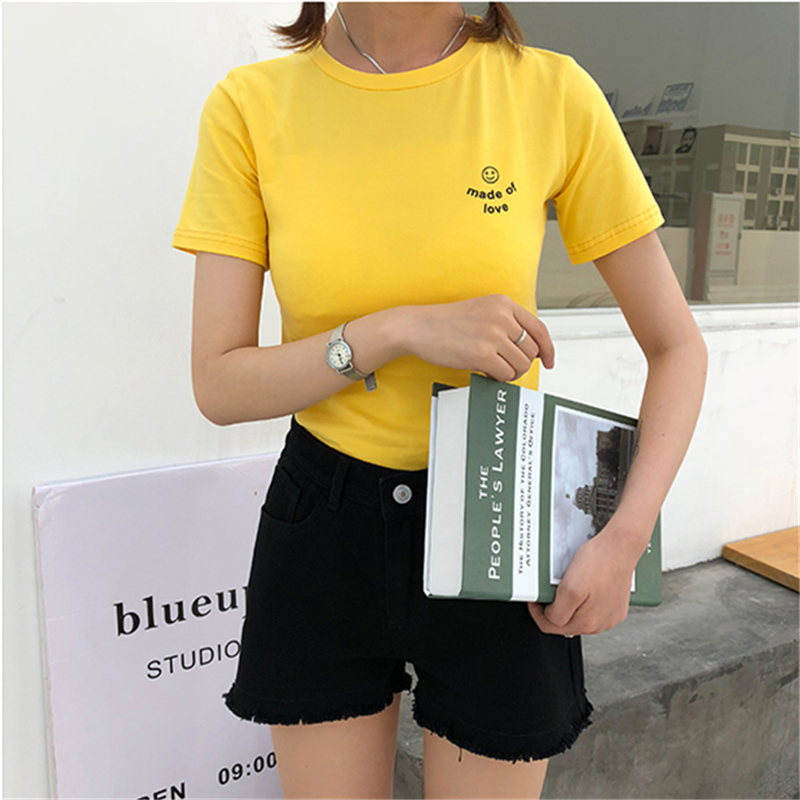 Kpop Harajuku Cute Women Short Sleeve T Shirt Womens Letter Print Brand Clothing T-shirt Smiley Face Printing Tops Dropshipping
