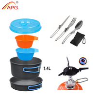 APG Outdoor Pots Pans Set Mini Gas Stove Camping Cookware Hiking Tableware With Foldable Spoon Fork Knife
