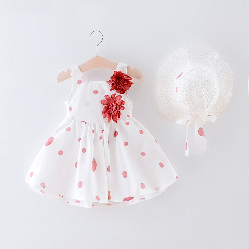 Summer New Casual Baby Dress hat Cotton Print Flower Dot Sleeveless Infant Girl Dresses Toddler Babies Girls Appliques Clothes in Dresses from Mother Kids