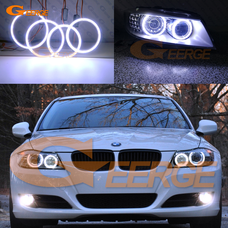 For BMW 3 Series E91 E90 LCI 2009 2012 Xenon headlight Excellent angel eyes Ultra bright